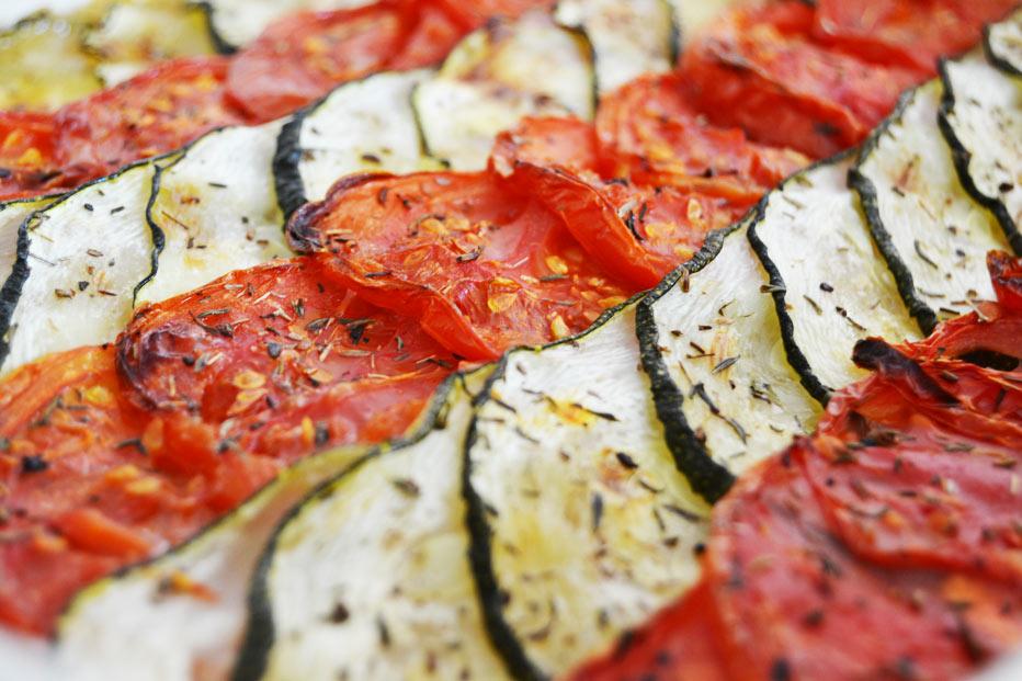Tian tomate, courgette et fondue d'oignon