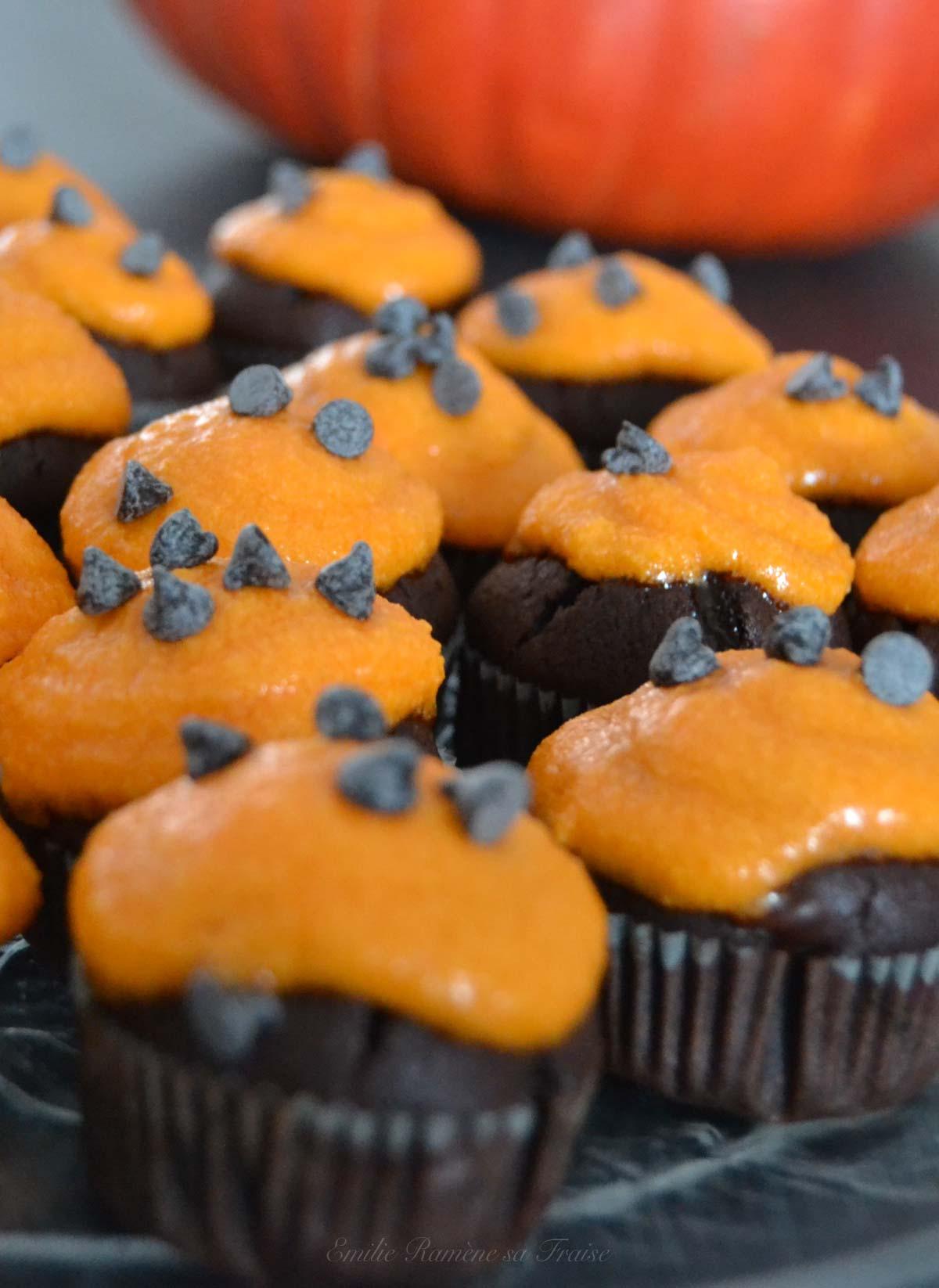 Cupcakes orange et chocolat pour Halloween