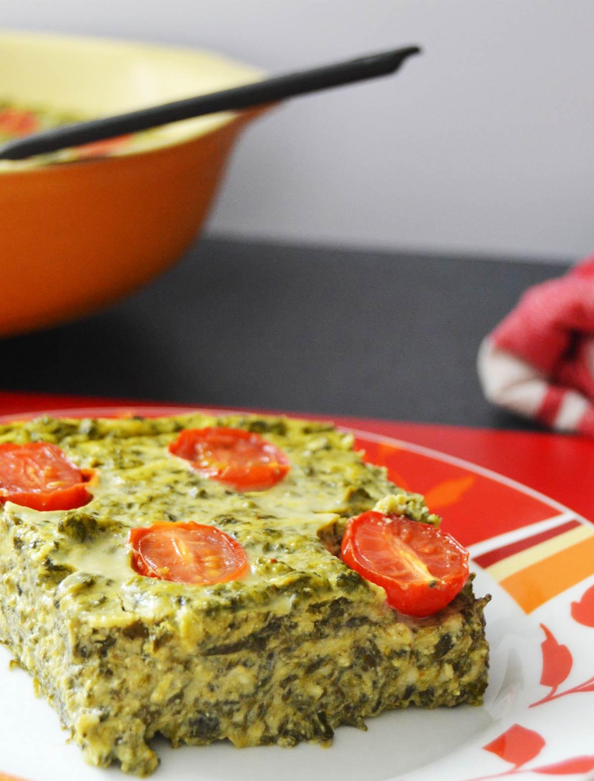 Flan épinards, ricotta et tomates