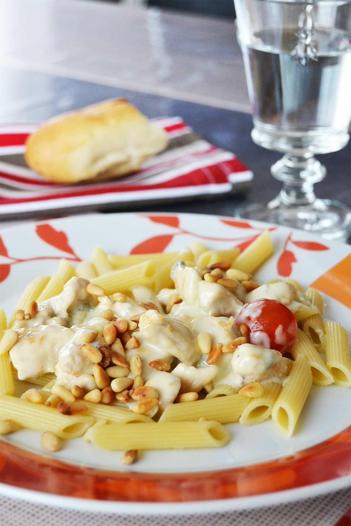 Penne au poulet et au gorgonzola