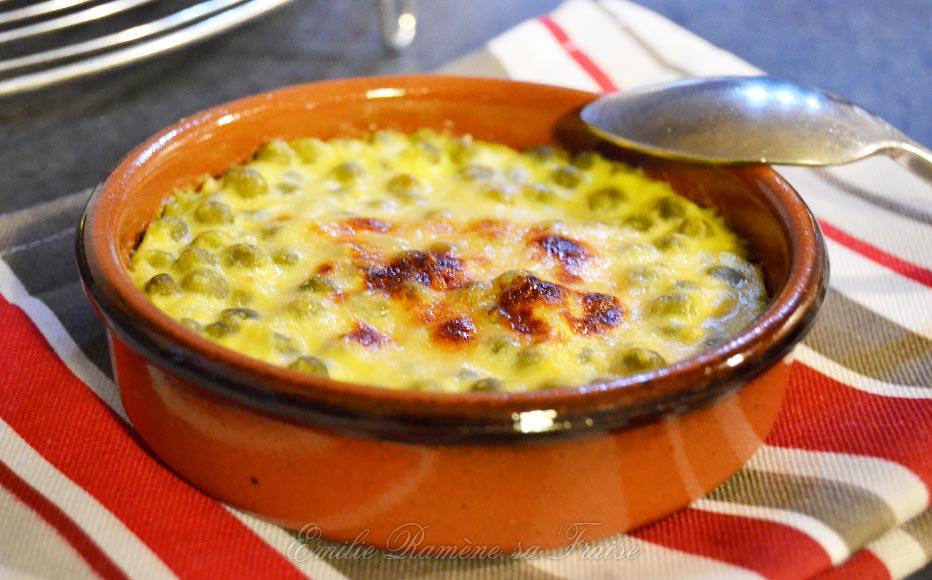 Crème brûlée aux petits pois, gingembre et moutarde jaune