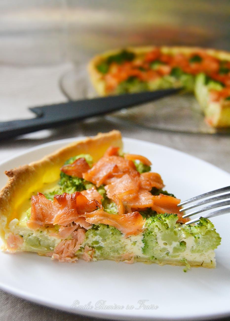 Quiche au brocoli et au saumon fumé
