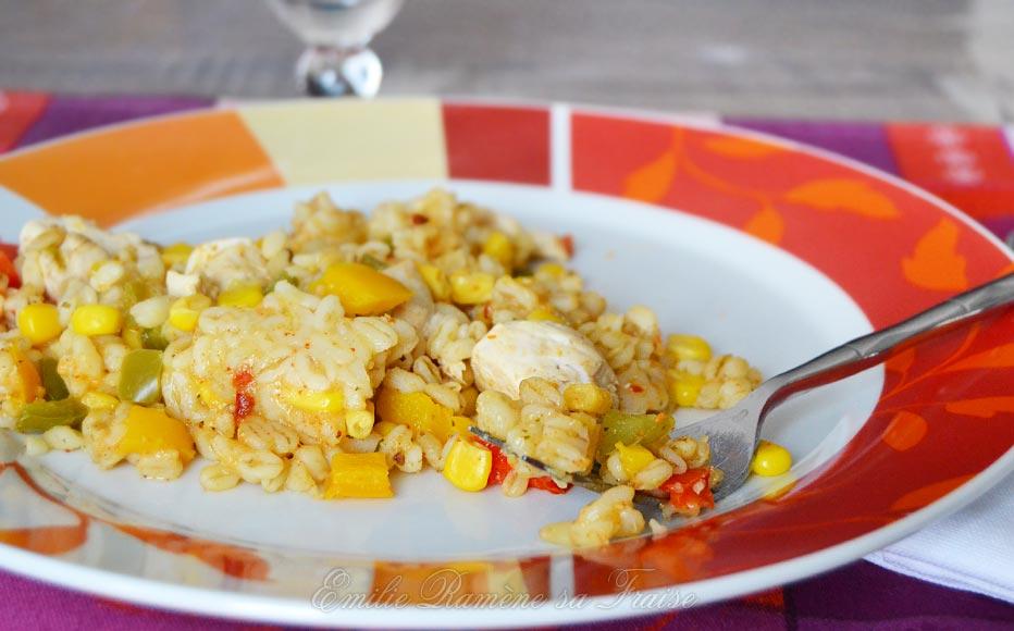 Blésotto poivron, poulet et maïs