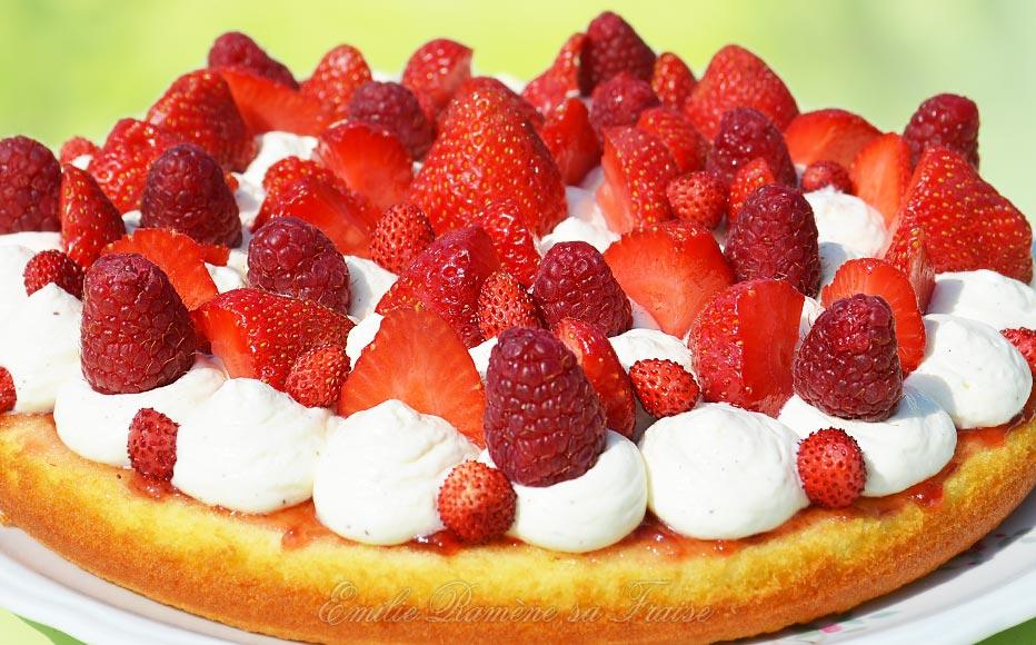 Gâteau-Tarte fraises, framboises et mascarpone, à la manière du Fantastik de C. Michalak