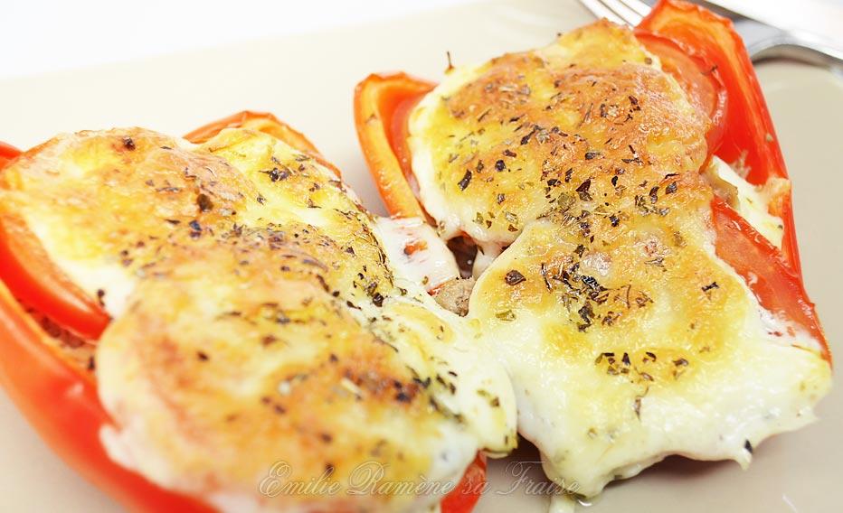 Poivrons farcis thon, tomate et mozzarella